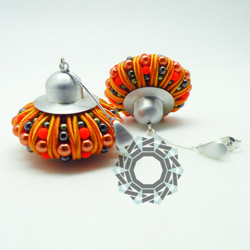 3D Soutache earrings (orange) / Kolczyki soutache 3D (pomarańczowe) by tender December, Alina Tyro-Niezgoda