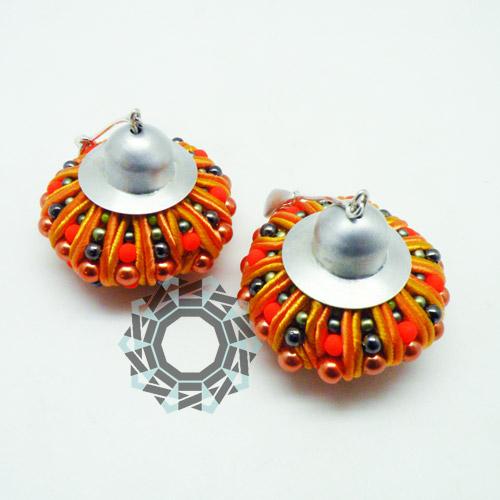 3D Soutache earrings (orange) / Kolczyki soutache 3D (pomarańczowe) by tender December, Alina Tyro-Niezgoda
