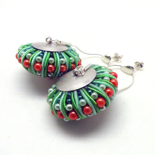3D Soutache earrings (green&orange) / Kolczyki soutache 3D (zielono-pomarańczowe) by tender December, Alina Tyro-Niezgoda
