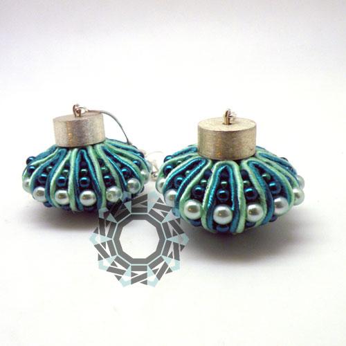 3D Soutache earrings (green) / Kolczyki soutache 3D (zielone) by tender December, Alina Tyro-Niezgoda