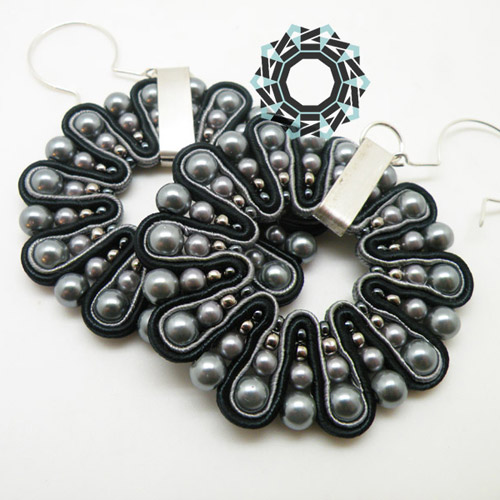 Both side soutache earrings (black&grey) / Dwustronne kolczyki soutache (czarno-szare) by Tender December, Alina Tyro-Niezgoda