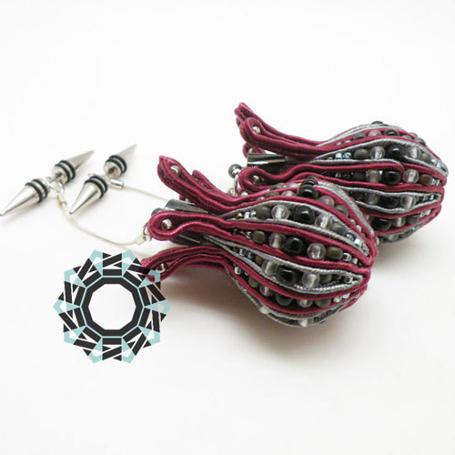 3D Soutache earrings (cherry) / Kolczyki soutache 3D (wiśniowe) by tender December, Alina Tyro-Niezgoda