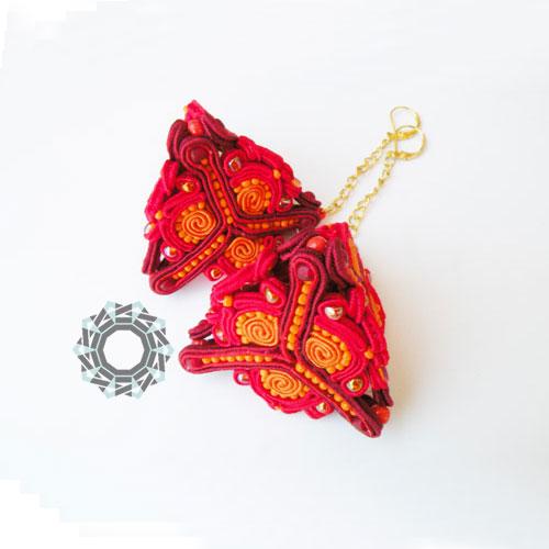 3D Soutache earrings (red) / Kolczyki soutache 3D (czerwone) by tender December, Alina Tyro-Niezgoda