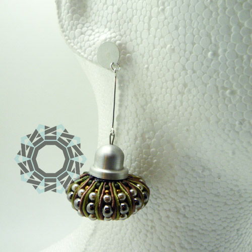 3D Soutache earrings (khaki) / Kolczyki soutache 3D (khaki) by tender December, Alina Tyro-Niezgoda