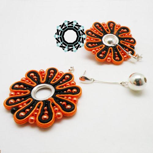 Both side soutache earrings (orange&black) / Dwustronne kolczyki soutache (czarno-pomarańczowe) by tender December, Alina Tyro-Niezgoda
