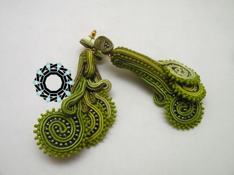 """3D Fern Soutache Earrings / Kolczyki 3D """"Młode paprotki"""" by Tender December, Alina Tyro-Niezgoda"""