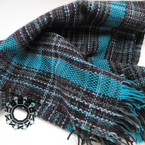 Turquoise scarf / Szalik z turkusowym pasem by Tender December, Alina Tyro-Niezgoda