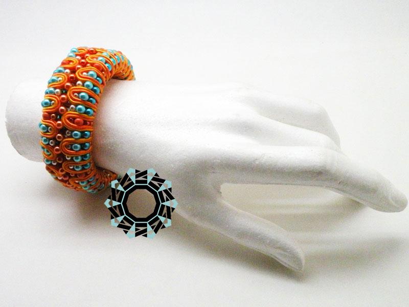 Turquise&orange 3D soutache bracelet / Bransoletka soutache (pomarańczowo-turkusowa) by tender December, Alina Tyro-Niezgoda