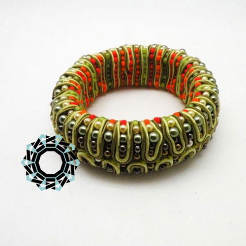 Green 3D soutache bracelet / Bransoletka soutache (zielona) by Tender December, Alina Tyro-Niezgoda