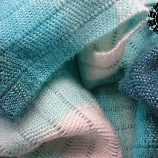 Turquoise and white mohair scarf / Turkusowo-biały szalik moherowy by Tender December, Alina Tyro-Niezgoda