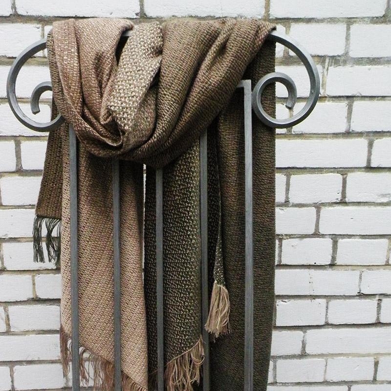 Cotton XXL shawl in the color of beige, light brown and green / Bawełniany szal XXL w tonacji zieleni, brązów i beży by Tender December, Alina Tyro-Niezgoda