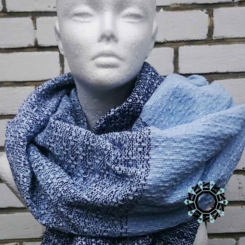 Acrylic XXL shawl in the color of white, blue and navy blue / Akrylowy szal XXL w tonacji bieli, błękitu i granatu by Tender December, Alina Tyro-Niezgoda