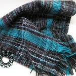 Melanżowy szalik w turkusowe pasy, Tender December, Alina Tyro-Niezgoda