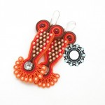 Orange soutache earrings / Pomarańczowe kolczyki soutache by Tender December, Alina Tyro-Niezgoda