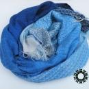 Cotton navy blue - pearl gray, handwoven shawl / Granatowo-perłowy, bawełniany, ręcznie tkany szal by Tender December, Alina Tyro-Niezgoda More/ Więcej: http://tenderdecember.eu/woven-tkane/painted-with-cotton-malowane-bawelna/ To buy / Aby kupić: http://tenderdecember.eu/shop/produkt/cotton-xxl-shawl-color-navy-blue-blue-pearl-gray-bawelniany-szal-xxl-w-tonacji-granatu-blekitow-perlowej-szarosci/