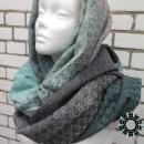 Black-green, cotton, big handwoven shawl / Czarno-zielony, bawełniany, wielki szal, ręcznie tkany by Tender December, Alina Tyro-Niezgoda More / Więcej: http://tenderdecember.eu/woven-tkane/painted-with-cotton-malowane-bawelna/ To buy / Aby kupić: http://tenderdecember.eu/shop/produkt/cotton-xxl-shawl-color-black-green-bawelniany-szal-xxl-w-tonacji-zieleni-czerni/