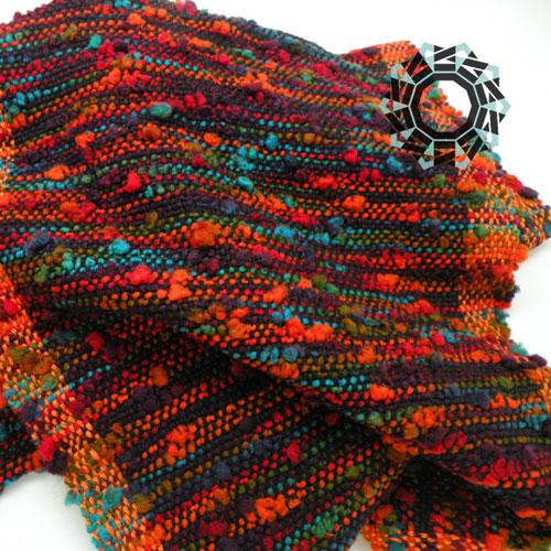 Crazy scarf with orange side bands / Zwariowany szalik w pomarańczach by Tender December, Alina Tyro-Niezgoda
