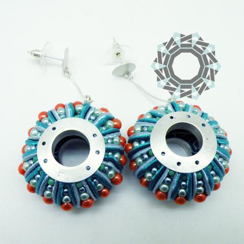 3D Soutache earrings (blue&orange) / Kolczyki soutache 3D (niebiesko-pomarańczowe) by tender December, Alina Tyro-Niezgoda