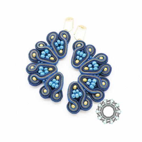 Soutache earrings / Granatowe połówki (sutasz) by tender December, Alina Tyro-Niezgoda