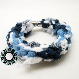 Cotton recycling (blue/grey/white) / Bawełniany recycling (niebiesko-szaro-biała) by Tender December, Alina Tyro-Niezgoda