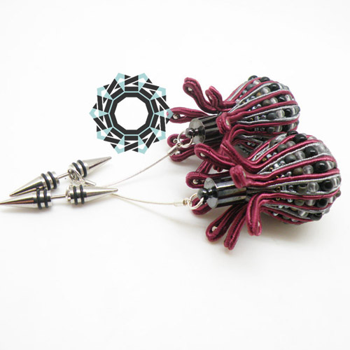 3D Soutache earrings (cherry) / Kolczyki soutache 3D (wiśniowe) by tender December, Alina Tyro-Niezgoda