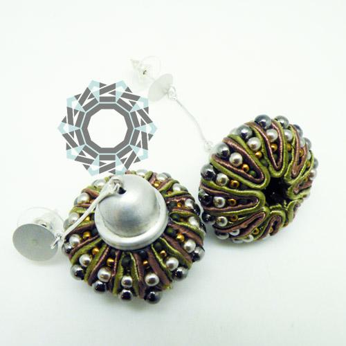 3D Soutache earrings (khaki) / Kolczyki soutache 3D (khaki) by tender December, Alina Tyro-Niezgoda