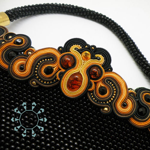 Beaded handbag with soutache ornament / Torebka z koralików i soutache by Tender December, Alina Tyro-Niezgoda