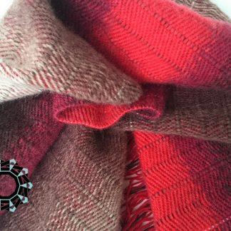 Red-brown-white mohair scarf / Czerwono-brązowo-biały szalik moherowy by Tender December, Alina Tyro-Niezgoda