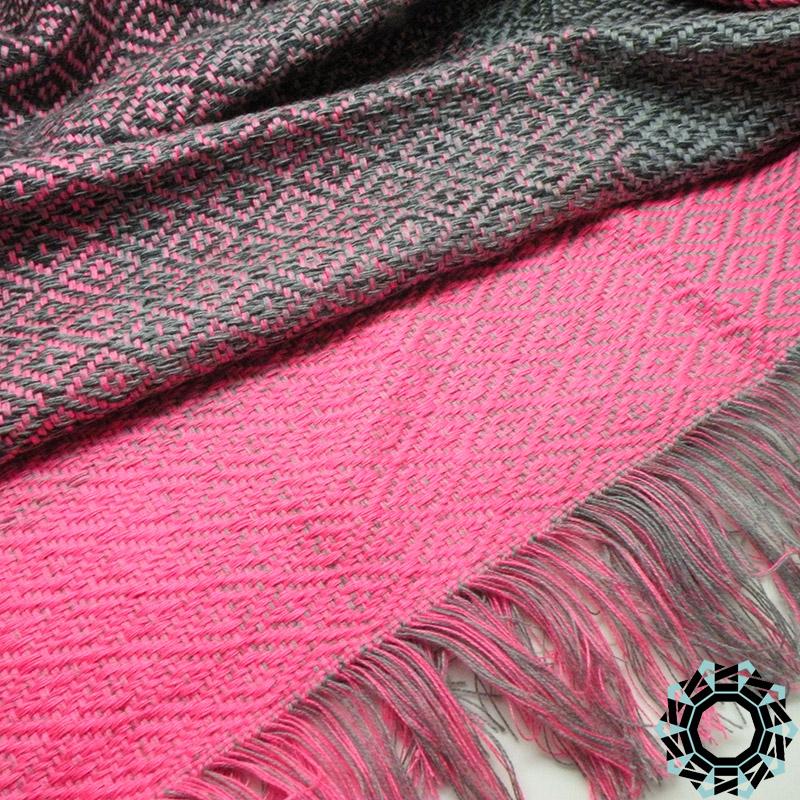 Cotton XXL shawl in the color of pink, gray and black / Bawełniany szal XXL w tonacji różu, szarości i czerni by Tender December, Alina Tyro-Niezgoda