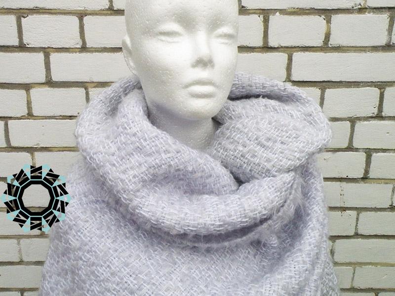 Mohair XXL shawl in gray and pink / Moherowy szal XXL w szarościach i różach by Tender December, Alina Tyro-Niezgoda