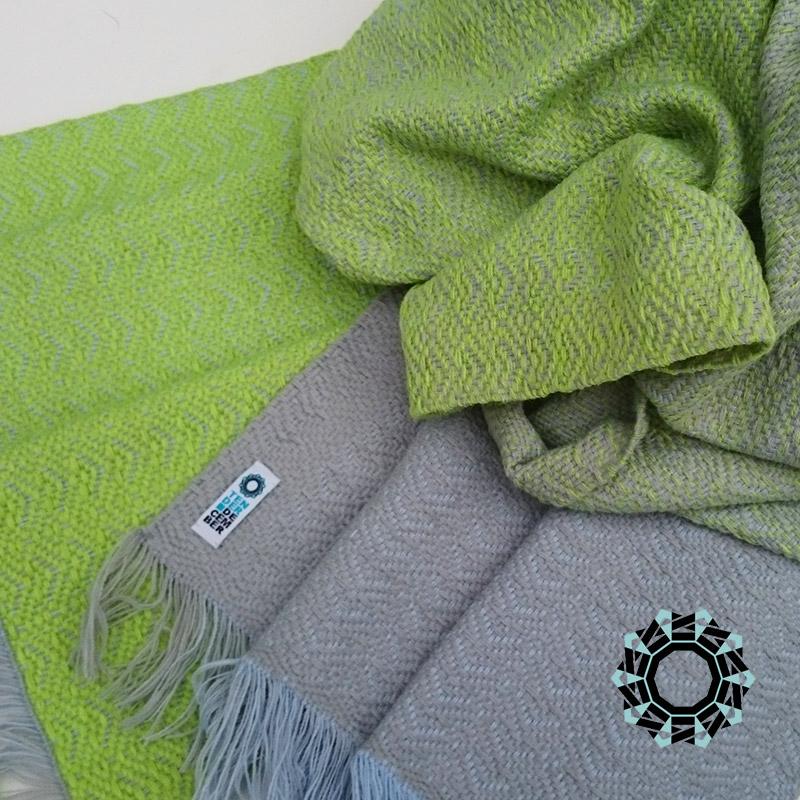 Acrylic XXL shawl in the color of blue, gray and lime / Akrylowy szal XXL w tonacji błękitu, szarości i limonki by Tender December, Alina Tyro-Niezgoda