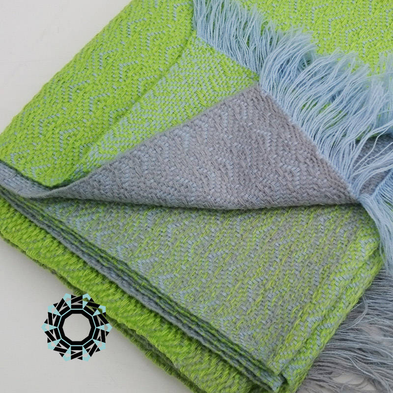 Acrylic XXL shawl in the color of white, blue and navy blue / Akrylowy szal XXL w tonacji bieli, błękitu i granatu by Tender December, Alina Tyro-Niezgoda
