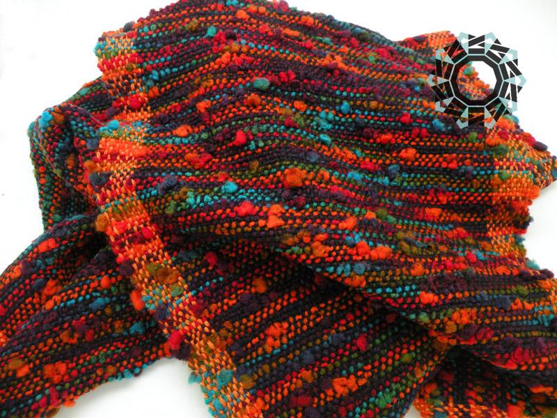 Crazy scarf with orange side bands / Zwariowany szalik by Tender December, Alina Tyro-Niezgoda