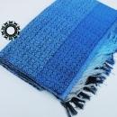 Cotton navy blue - pearl gray, handwoven shawl / Granatowo-perłowy, bawełniany, ręcznie tkany szal by Tender December, Alina Tyro-Niezgoda More/ Więcej: https://tenderdecember.eu/woven-tkane/painted-with-cotton-malowane-bawelna/ To buy / Aby kupić: https://tenderdecember.eu/shop/produkt/cotton-xxl-shawl-color-navy-blue-blue-pearl-gray-bawelniany-szal-xxl-w-tonacji-granatu-blekitow-perlowej-szarosci/