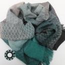 Black-green, cotton, big handwoven shawl / Czarno-zielony, bawełniany, wielki szal, ręcznie tkany by Tender December, Alina Tyro-Niezgoda More / Więcej: https://tenderdecember.eu/woven-tkane/painted-with-cotton-malowane-bawelna/ To buy / Aby kupić: https://tenderdecember.eu/shop/produkt/cotton-xxl-shawl-color-black-green-bawelniany-szal-xxl-w-tonacji-zieleni-czerni/