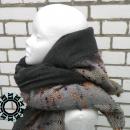 Gray scarf with hood and handwarmer / Szary szalik z kapturem i mufką by Tender December, Alina Tyro-Niezgoda,